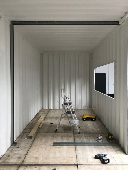 Container office Insight showroom verbouwing Zeilstraat Hasselt