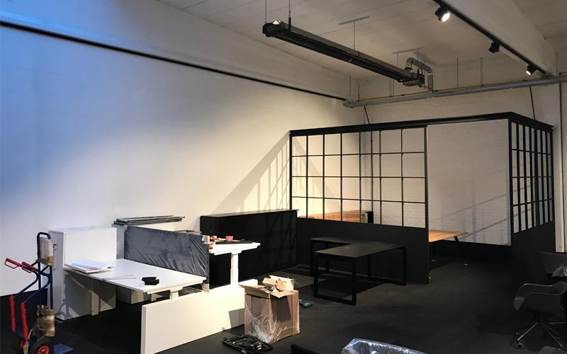 Insight showroom tijdens verbouwing Zeilstraat Hasselt