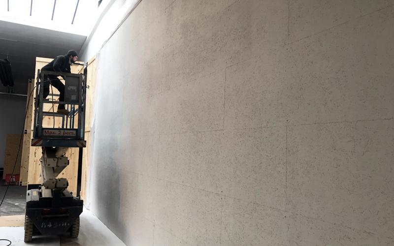 OSB wand Insight showroom verbouwing Zeilstraat Hasselt