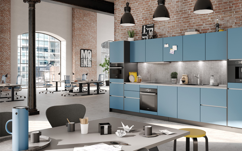 Blauwe keuken Palmberg speels kantoor