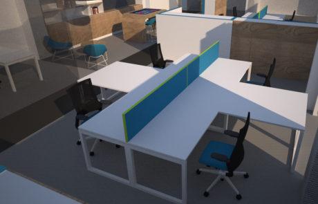 Luminex 3D render werkplekken open space