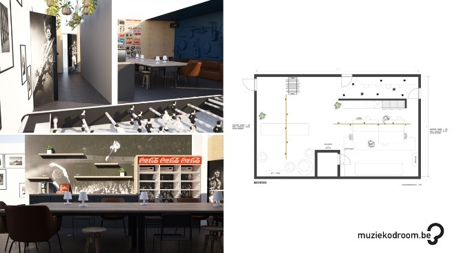 Muziekodroom 3D render en 2D plan Insight Studio