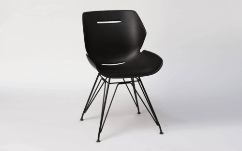 Toon side chair iron pyramide poot zwart
