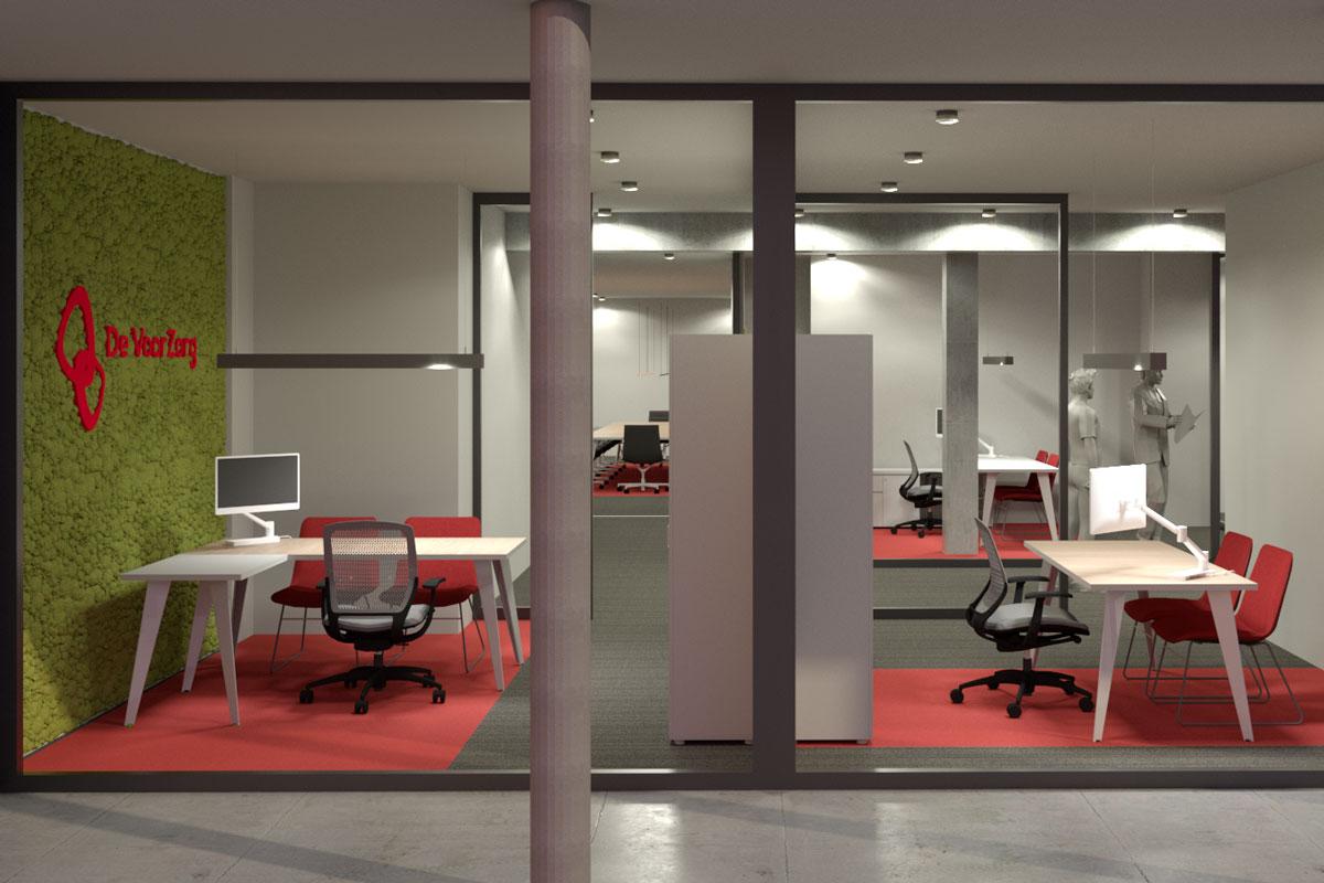 Kantoorontwerp, uitwerking 3D plan, Visualisatie, Kantoormeubilair