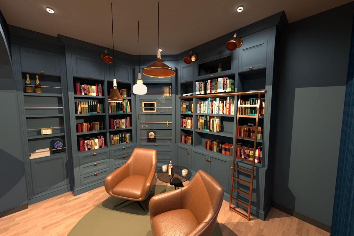 Insight studio ontwierp 3d realisatie private woning bibliotheek, maatwerk, verlichting, meubialir en raamdecoratie. Interieurarchitect: Jannik Degeest