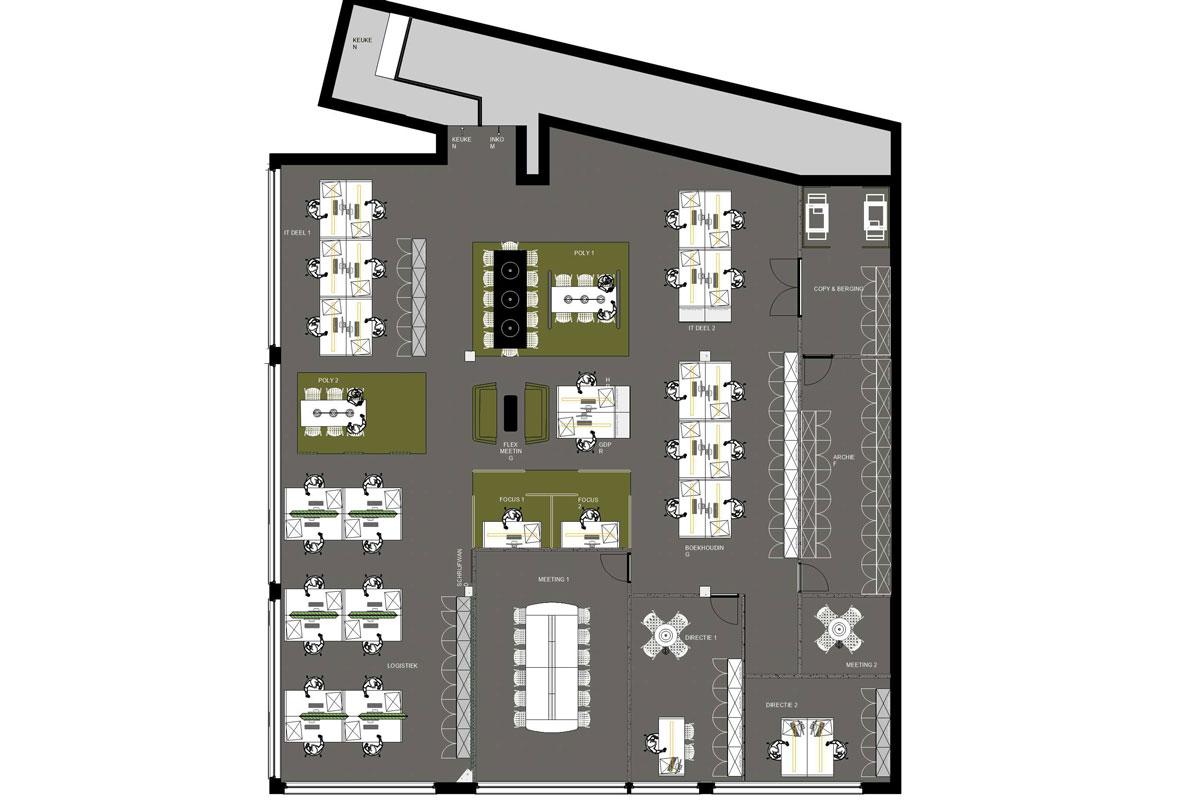 2D plan kantoorinrichting - Insight studio ontwierp de inrichting van KLAV kantoor. Meubilair, akoestiek, verlichting, vloerbekleding