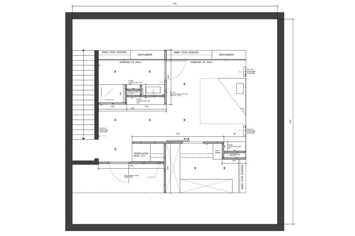 Voorontwerp plan slaapkamer, Insight studio tekende een 2D ontwerp voor slaapkamer met en-suite badkamer.